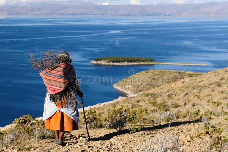 玻利维亚del isla湖横向sol titicaca 免版税图库摄影