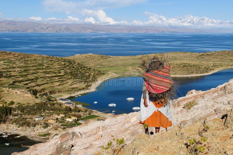 玻利维亚del isla湖横向sol titicaca 免版税库存照片