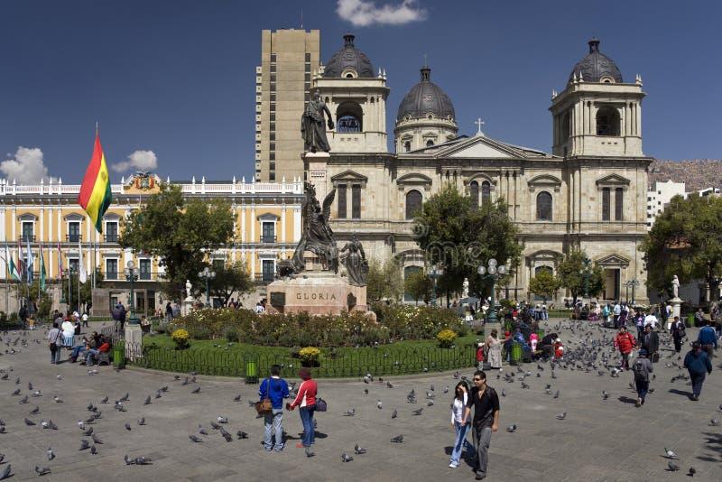 玻利维亚la murillo帕兹广场 免版税库存图片