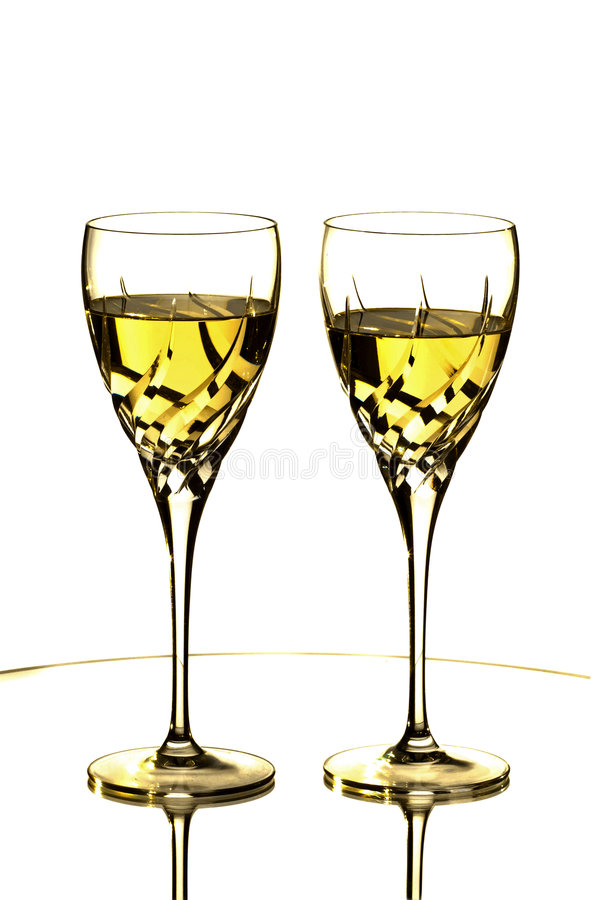 玻璃二白葡萄酒 免版税库存照片