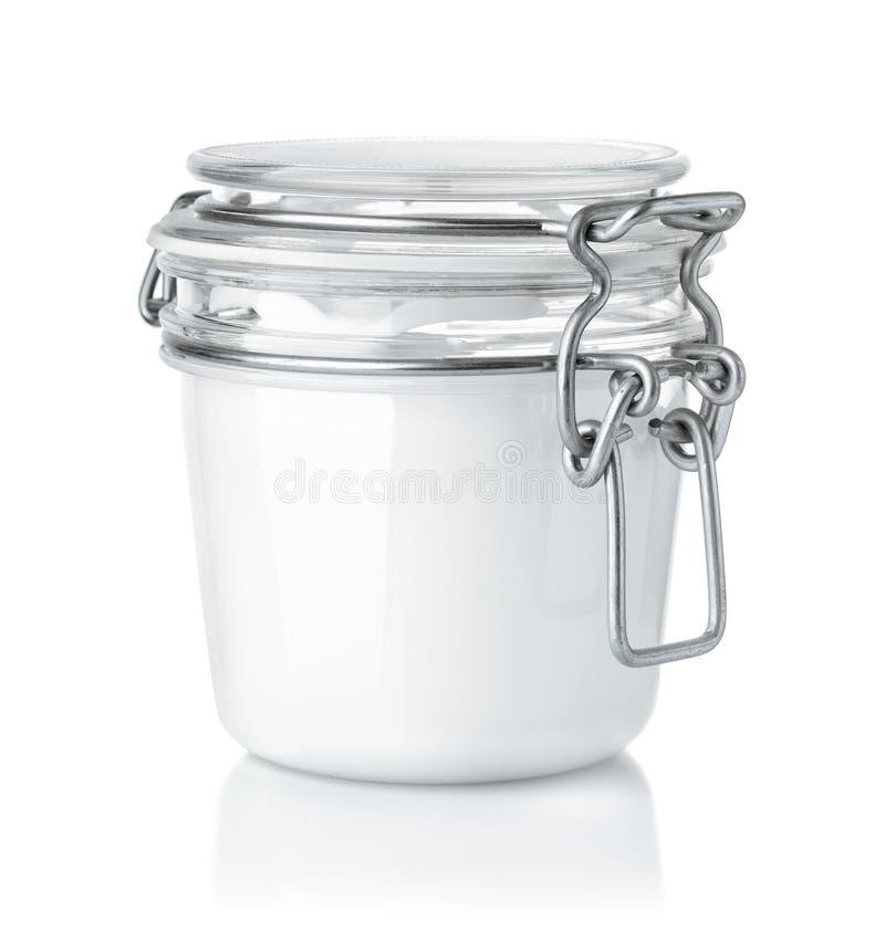 玻璃化妆奶油色瓶子正面图  库存照片