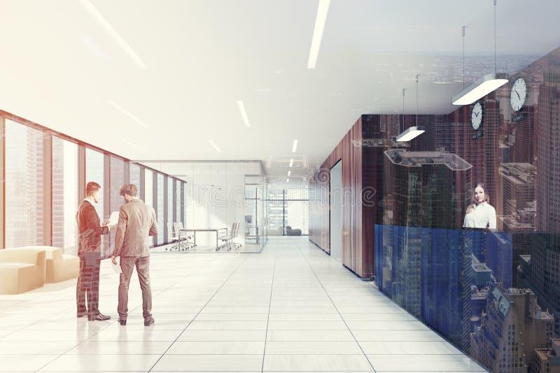 玻璃和木会议室,被定调子的招待会 皇族释放例证