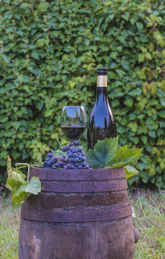 玻璃和瓶在老葡萄酒桶的红酒 库存图片