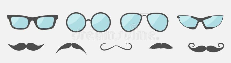 玻璃和髭髭象集合线 太阳镜汇集 ??desig ?? o 皇族释放例证
