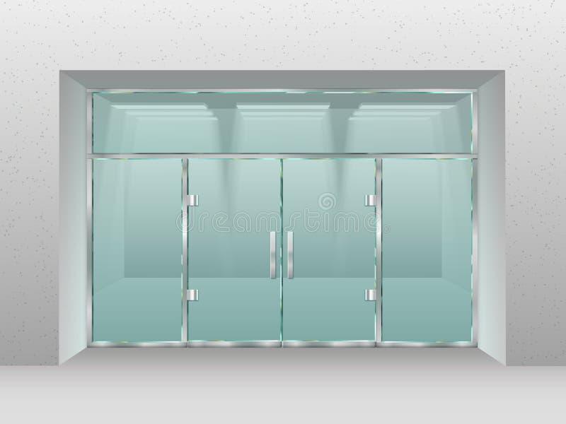 玻璃商店门面 Shopfront窗口、零售店或者现代营业所传染媒介例证 皇族释放例证