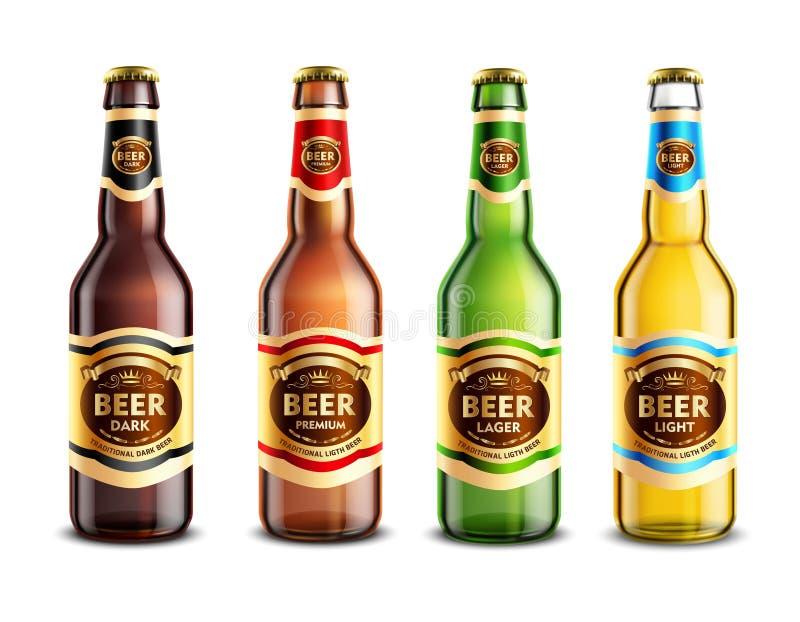 玻璃啤酒瓶现实集合 向量例证