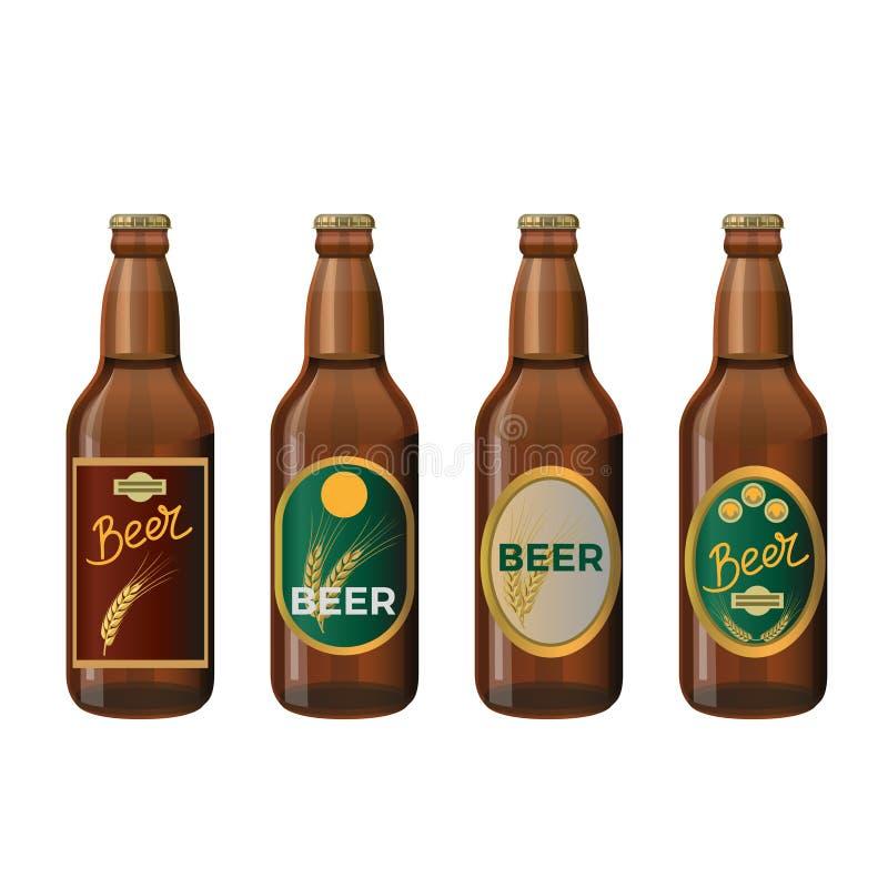玻璃啤酒瓶 皇族释放例证
