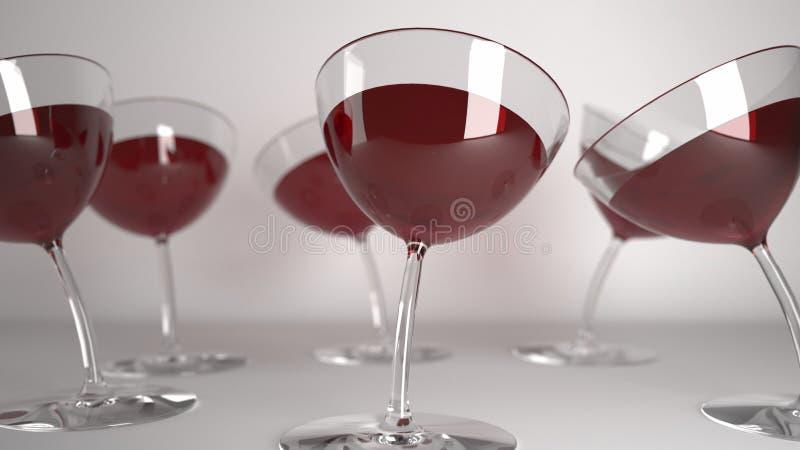 玻璃喝用红葡萄酒 库存例证