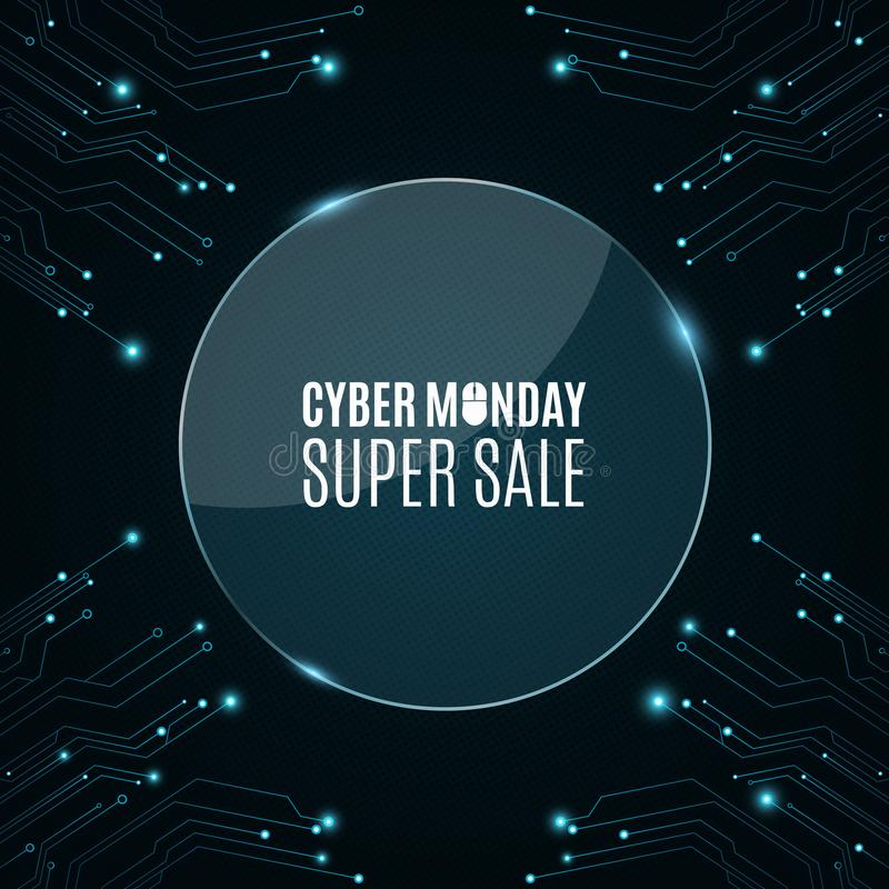玻璃圆的横幅 从一个计算机电路板的高科技背景网络销售的星期一 光亮蓝色横幅 巨大销售额 向量例证