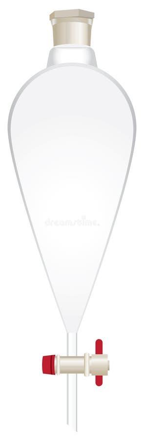 玻璃圆锥形separatory漏斗 向量例证