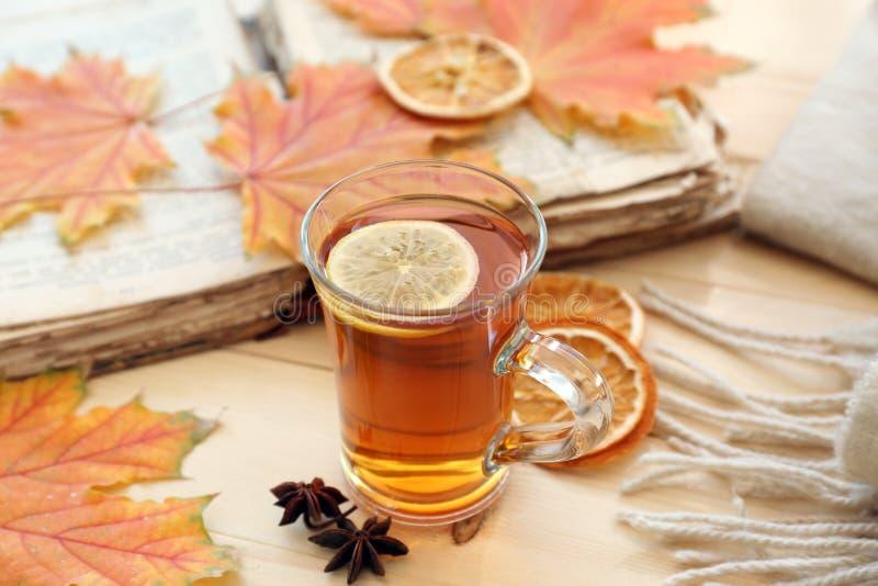 玻璃在木桌上的杯子与秋叶的芳香茶和书 库存图片