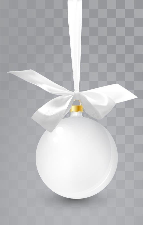 玻璃在透明背景的圣诞节白色玩具 长袜圣诞节装饰 设计的, mocap透明vektor对象 皇族释放例证