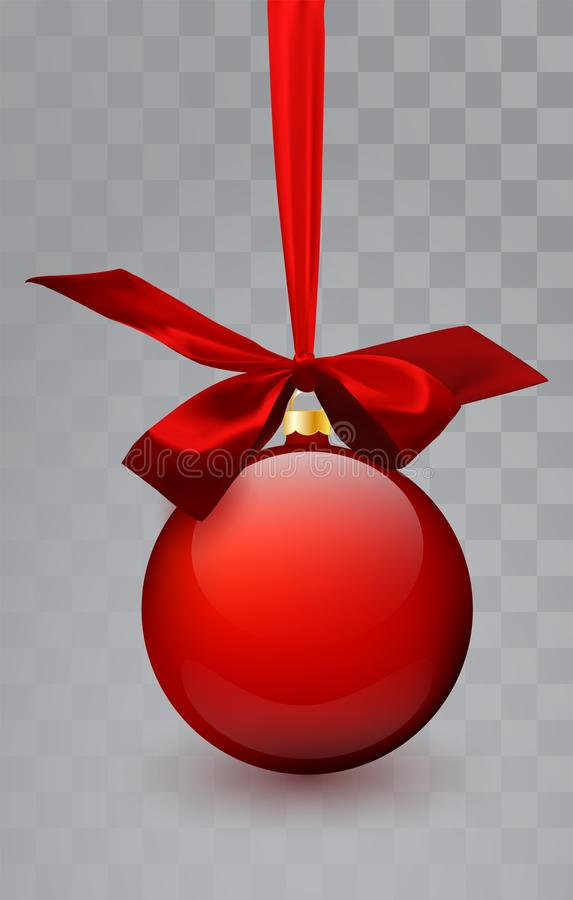 玻璃在透明背景的圣诞节红色玩具 长袜圣诞节装饰 设计的, mocap透明vektor对象 皇族释放例证