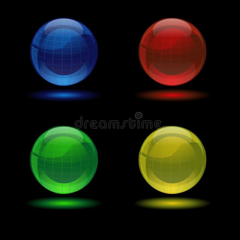玻璃地球图标多彩多姿发光 库存例证