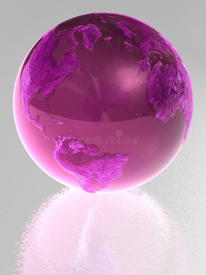 玻璃地球粉红色 向量例证