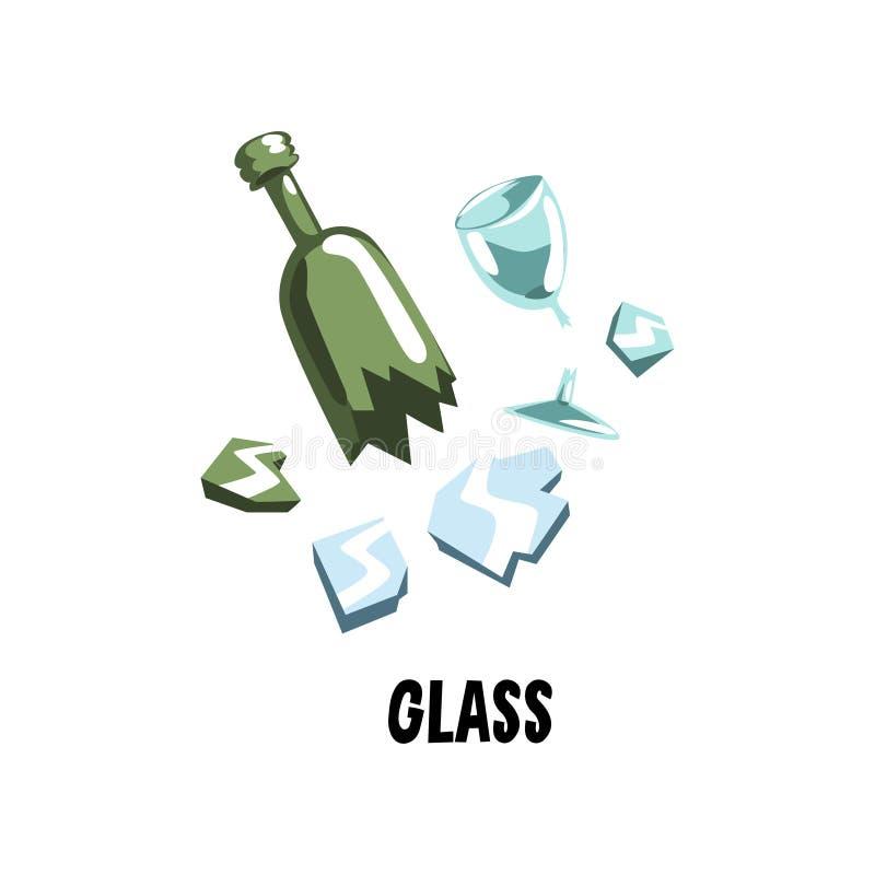 玻璃垃圾打破的镜子、绿色瓶和酒觚 垃圾排序 概念的平的传染媒介例证 库存例证