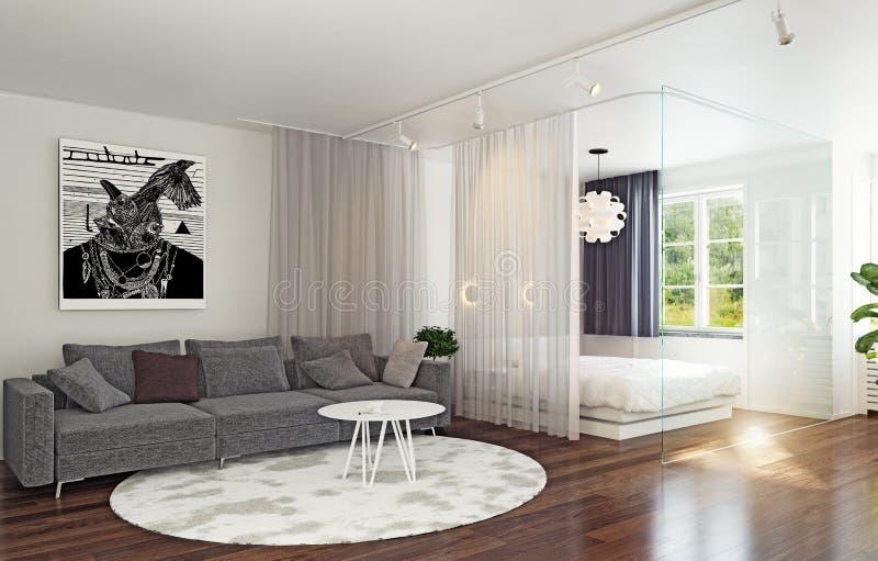玻璃墙内部的床区域 免版税库存图片