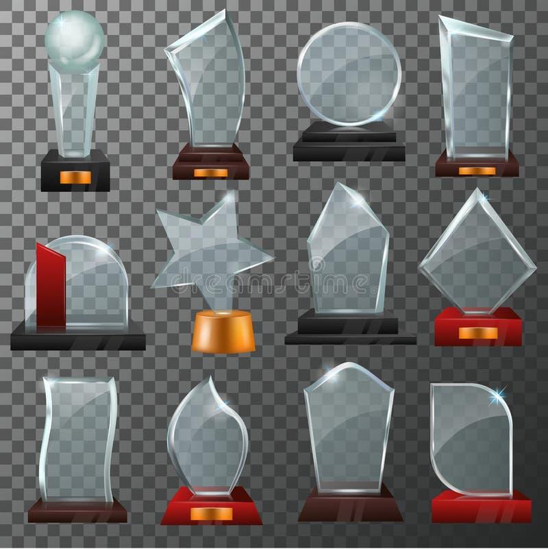 玻璃奖传染媒介水晶战利品或得奖的奖成就例证套的优胜者发光的奖励 向量例证