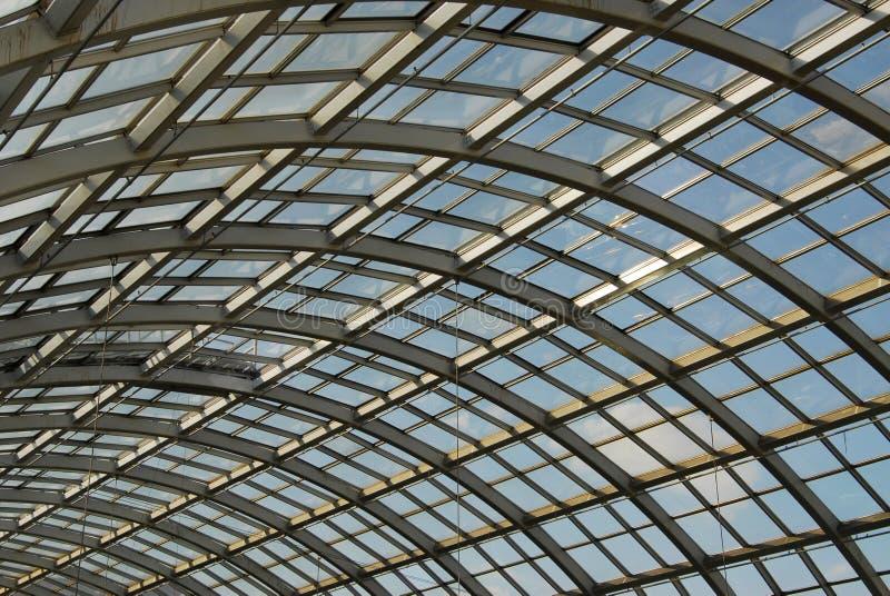 玻璃屋顶钢结构 图库摄影