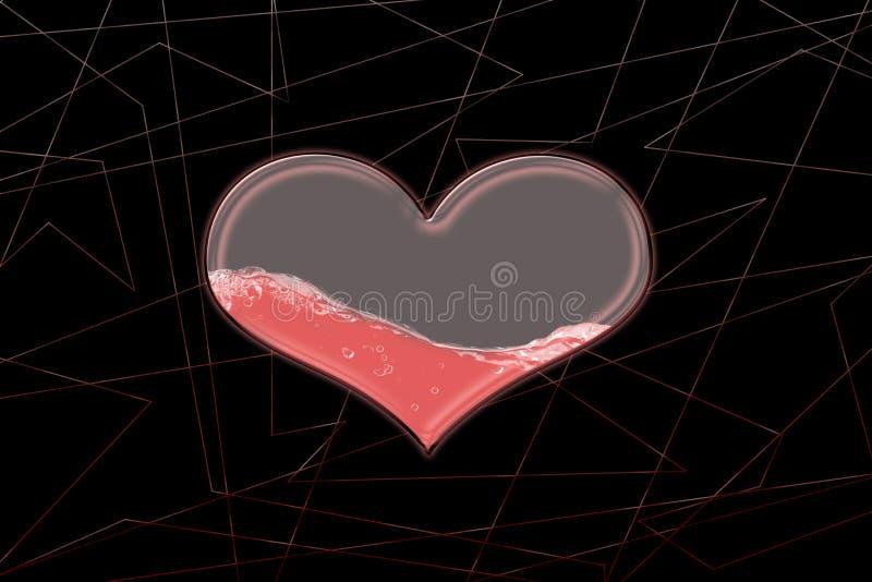 玻璃心脏半满在抽象背景的水  皇族释放例证
