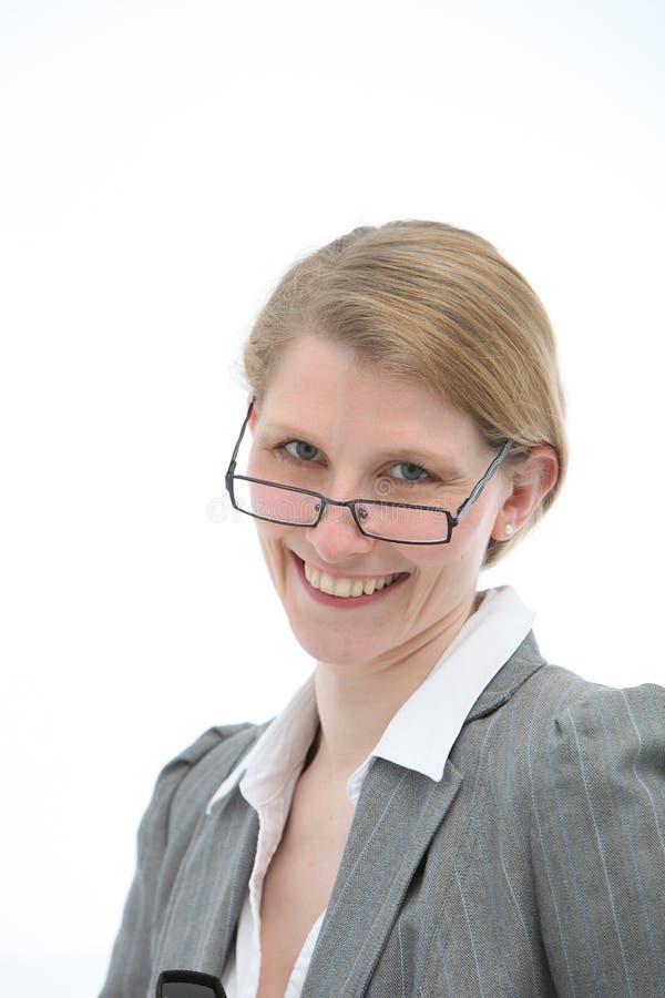 玻璃愉快的妇女 免版税图库摄影