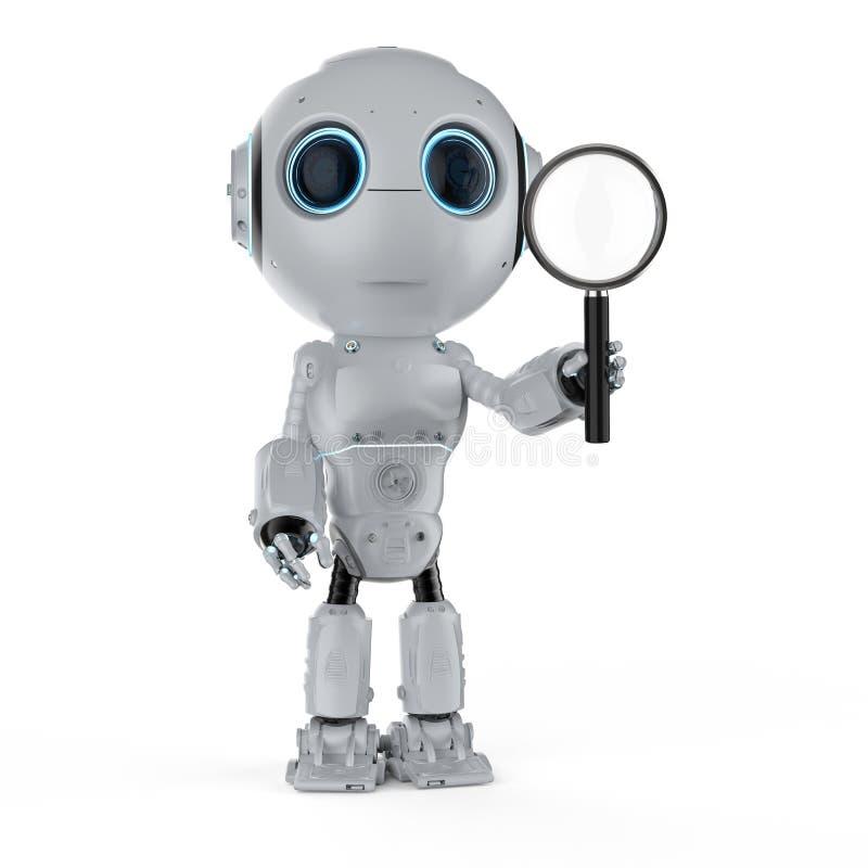 玻璃扩大化的机器人 库存例证