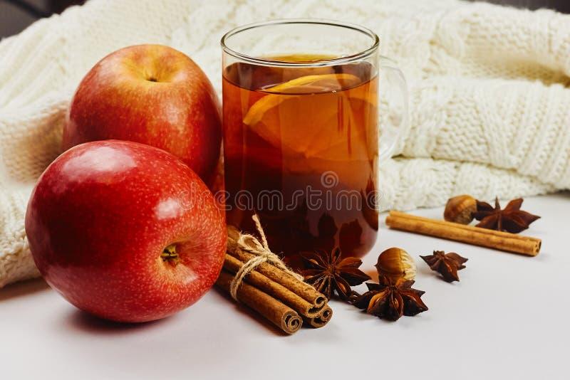 玻璃杯子与苹果切片、桂香和茴香的热的辣发球区域在与拷贝空间的白色被编织的背景 库存图片
