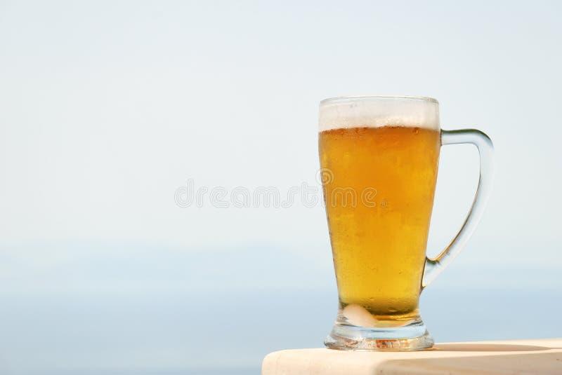 玻璃杯子冰镇啤酒 库存照片
