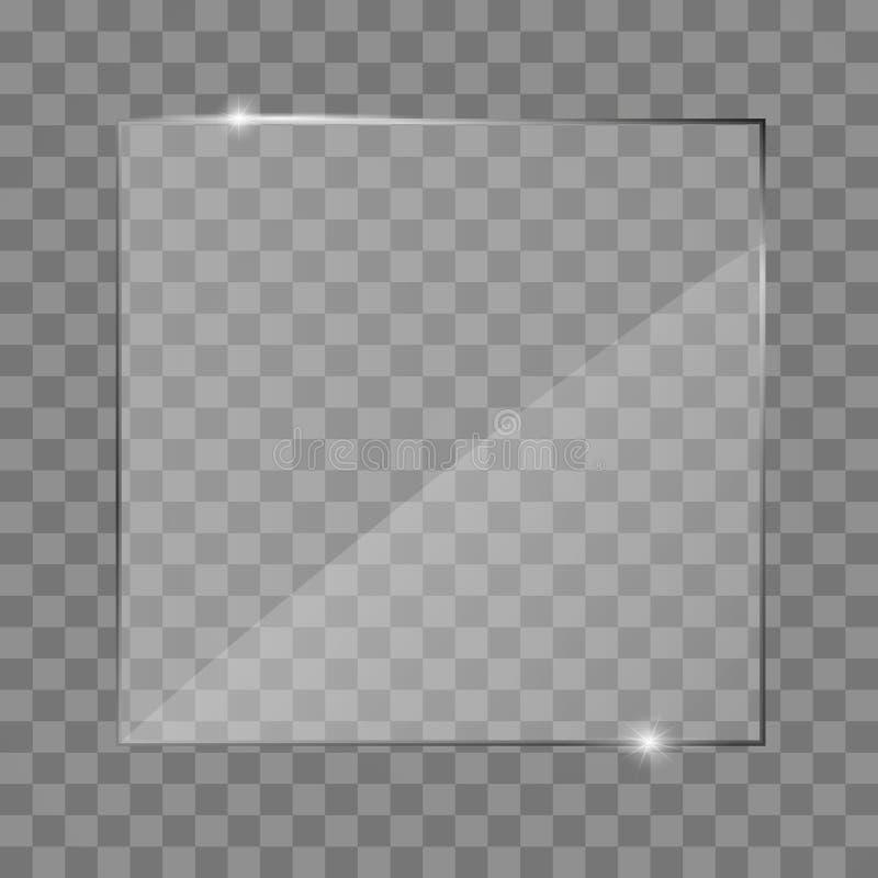 玻璃板框架 隔绝在透明背景 皇族释放例证