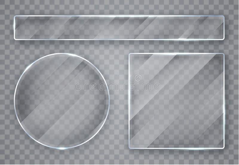 玻璃板集合 在透明背景的玻璃横幅 平面镜 r 皇族释放例证