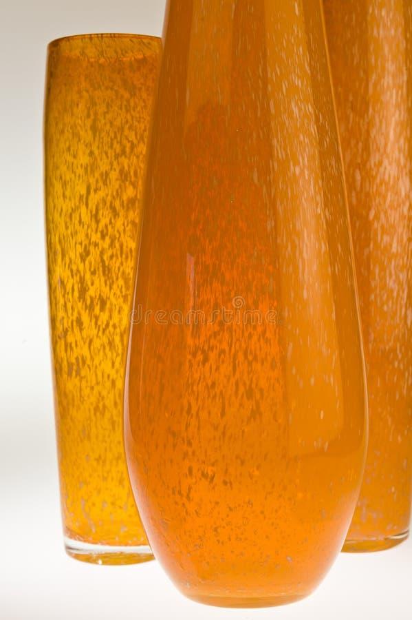 玻璃桔子三花瓶 免版税库存图片