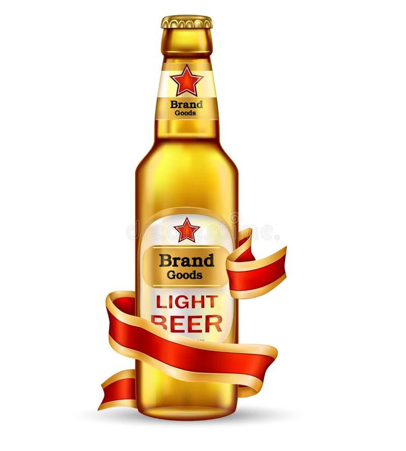 玻璃棕色瓶用工艺啤酒和红色丝带 皇族释放例证