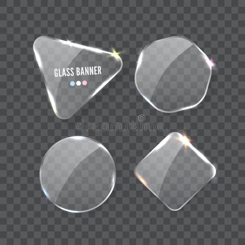 玻璃横幅,现实传染媒介例证 向量例证