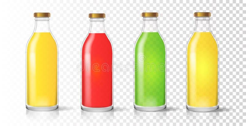 玻璃汁液瓶 色的现实包装的集合传染媒介 向量例证