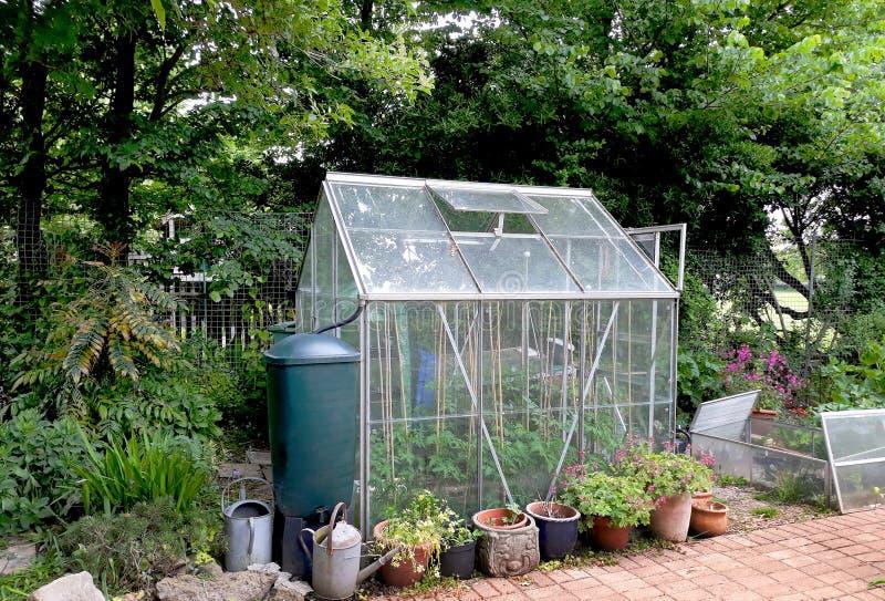 玻璃温室在庭院里 库存照片