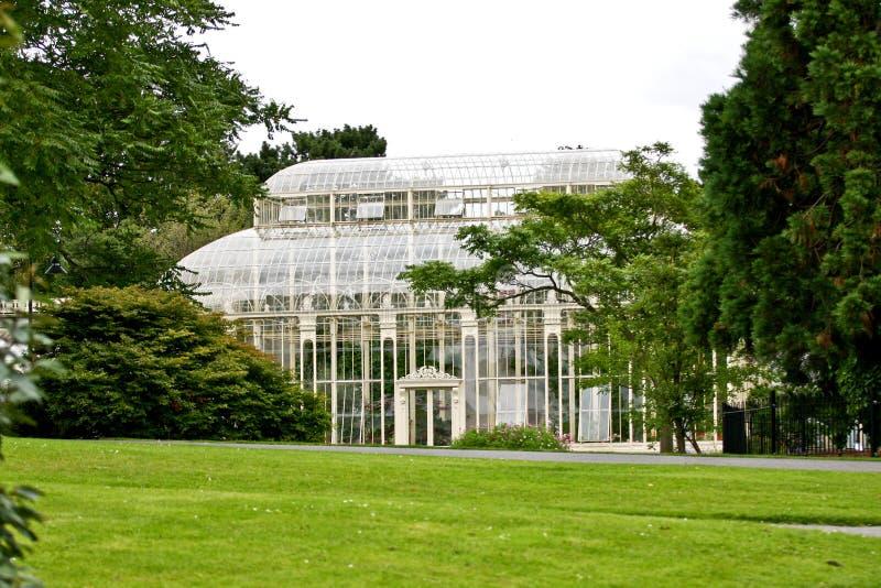 玻璃温室在都伯林植物园里 免版税库存照片