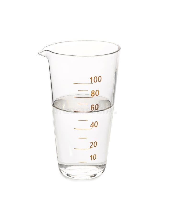 玻璃烧杯用在白色背景的水 库存图片
