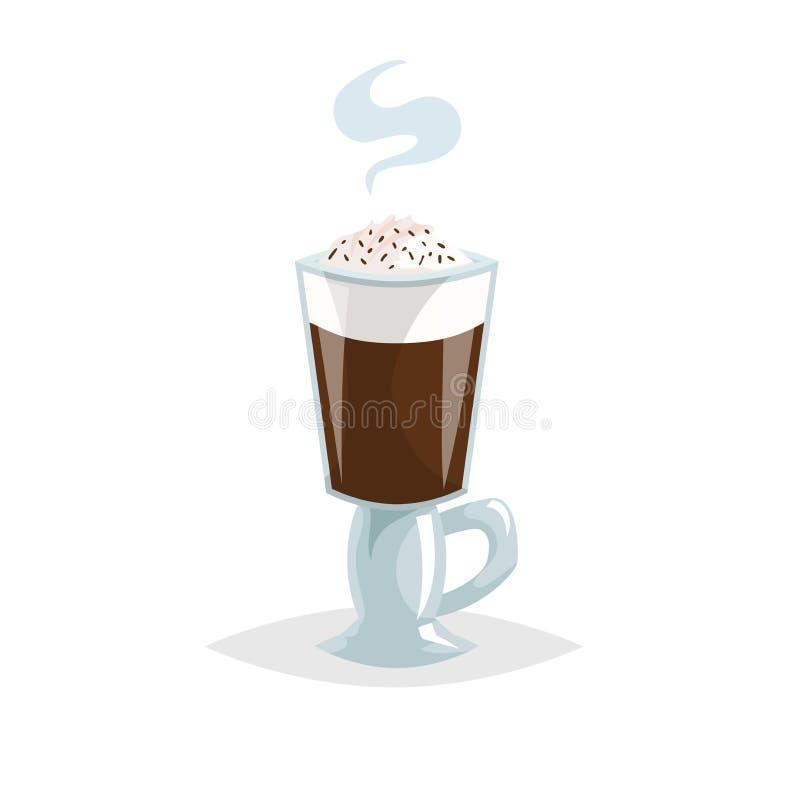 玻璃爱尔兰无奶咖啡 动画片时髦样式 有把柄的特别杯子 巧克力顶部 伟大为咖啡馆菜单和商店 库存例证