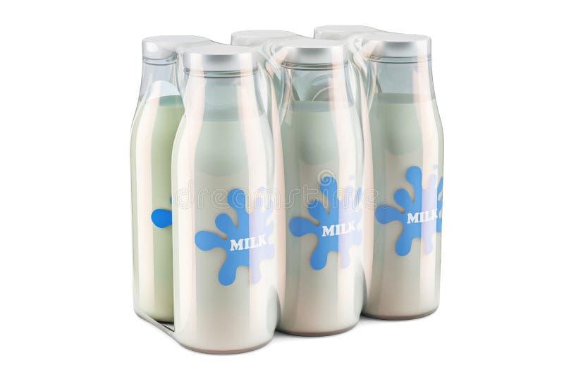 玻璃牛奶瓶包裹在收缩薄膜, 3D的翻译 皇族释放例证