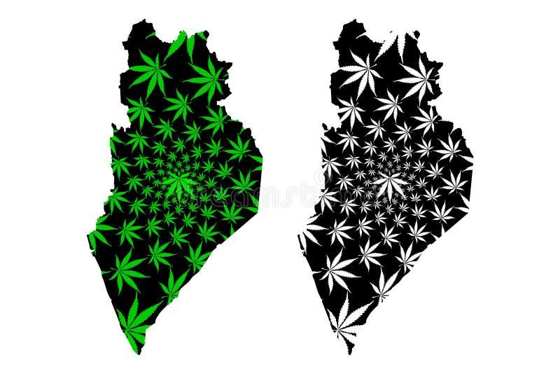 玻璃状态和马来西亚,马来西亚地图的联盟的联邦疆土是被设计的大麻叶子绿色和黑色,玻璃 向量例证
