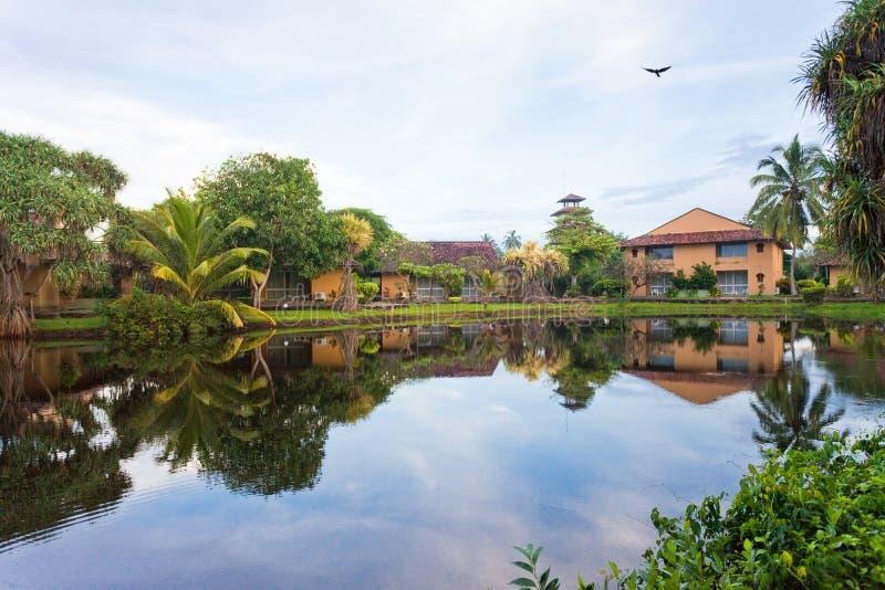 玻璃状湖Marawila,斯里兰卡 库存照片