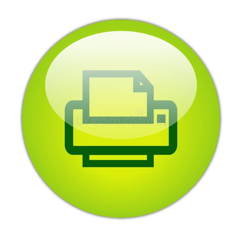 玻璃状绿色图标打印机 皇族释放例证