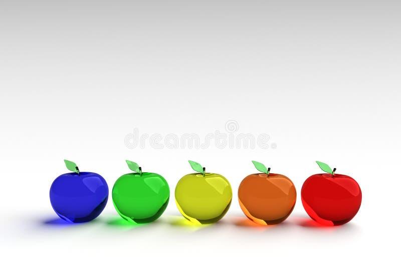 玻璃状苹果,发光的苹果,3d模型 五颜六色的玻璃状苹果 蓝色,绿色,黄色,橙色和红色3D苹果 皇族释放例证