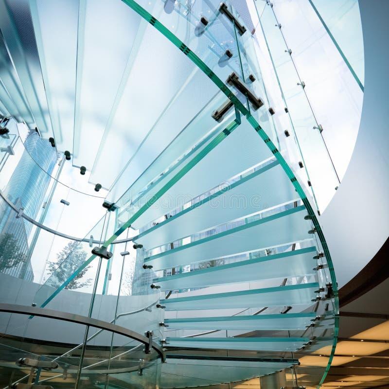 玻璃现代螺旋形楼梯 库存图片