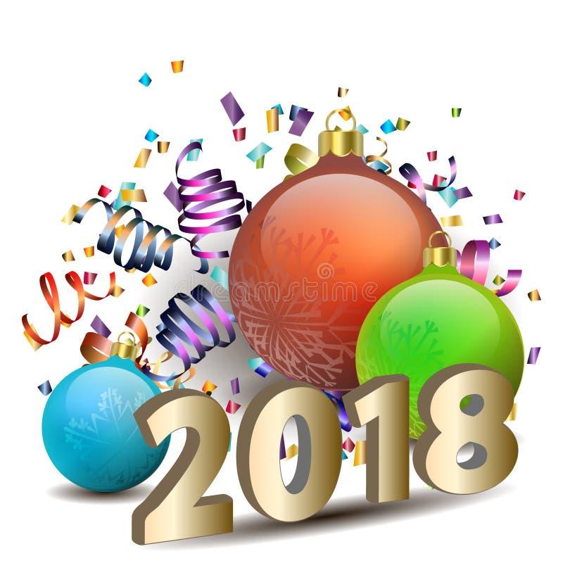 玻璃球和第2018年在白色 库存例证