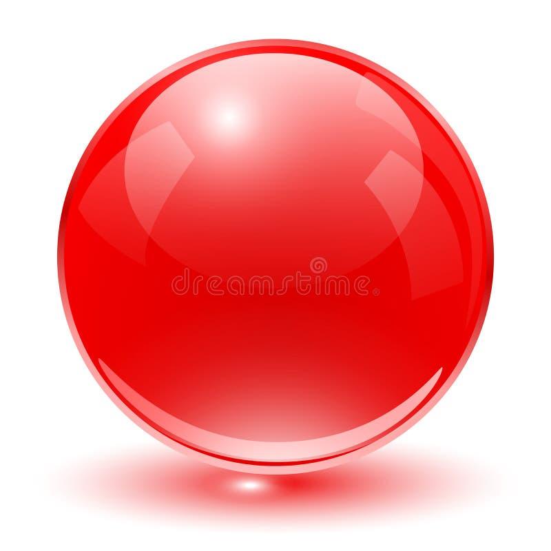 玻璃球形红色 向量例证