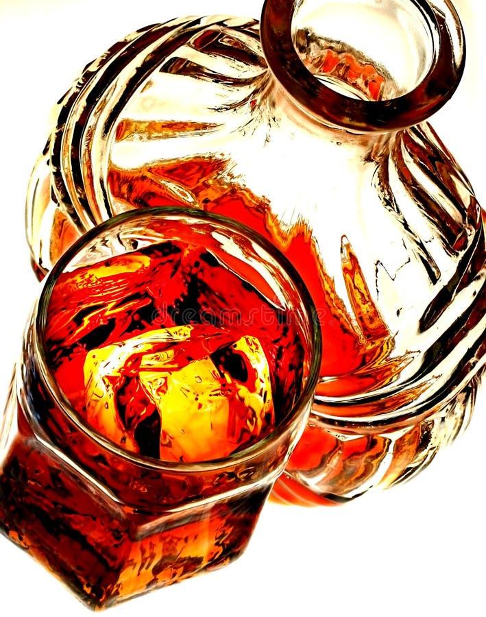 玻璃瓶威士忌酒 库存照片