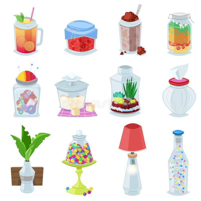 玻璃瓶子传染媒介果酱或甜果冻在泥工玻璃器皿与盒盖或盖子装和保存的例证于罐中 皇族释放例证