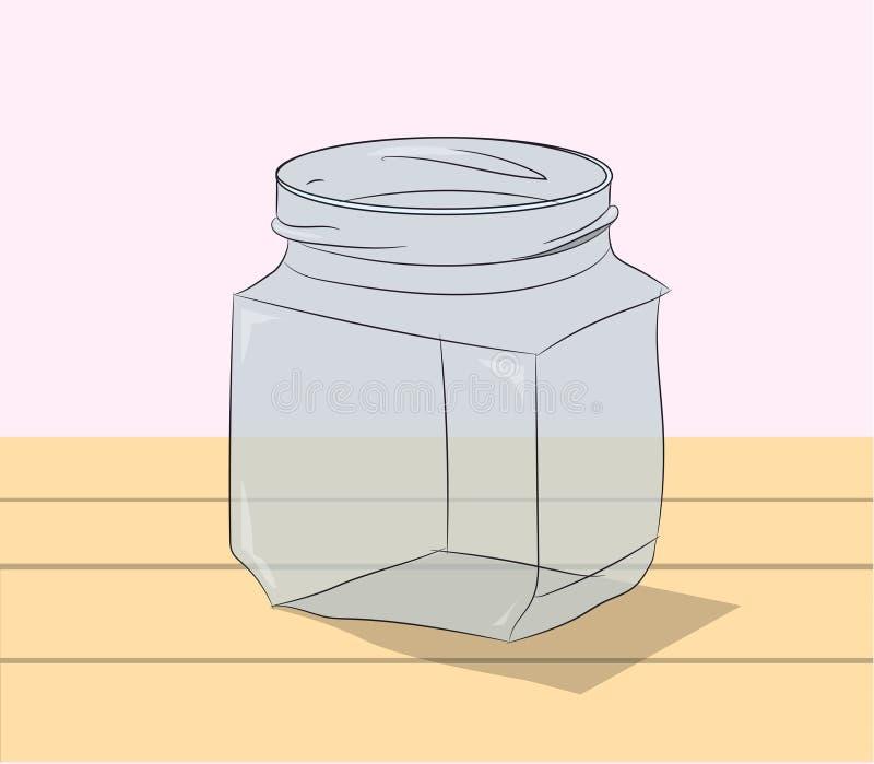 玻璃瓶子在桌上 皇族释放例证