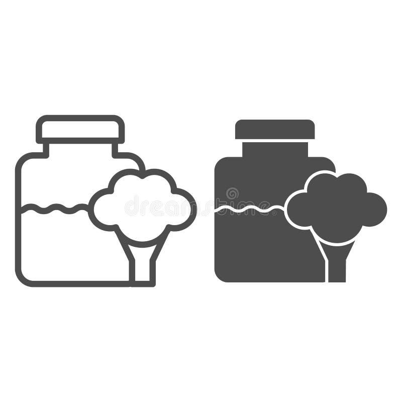 玻璃瓶子婴儿食品线和纵的沟纹象 在瓶子在白色隔绝的传染媒介例证的硬花甘蓝 自然菜婴孩 向量例证